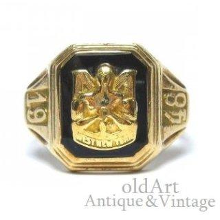 USA製1948年ヴィンテージJOSTENS社WEST NEW YORK HSオニキス10金無垢メンズカレッジリング指輪10Kゴールド【16.5号】【M-14904】