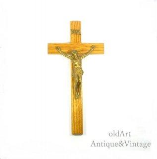 アメリカ製イエスキリスト十字架クロスカトリック木製壁掛けオブジェ置物【N-20145】