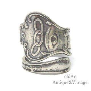 USA製アンティーク1900年代初頭プロビデンスの目オッドフェローズシルバー製スプーンリング指輪14号【M-14922】