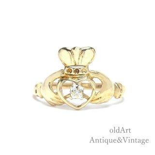 USA製ヴィンテージアイルランド伝統的な指輪Claddagh Ringクラダリングダイヤモンド10金無垢10Kゴールド10号【M-14946】