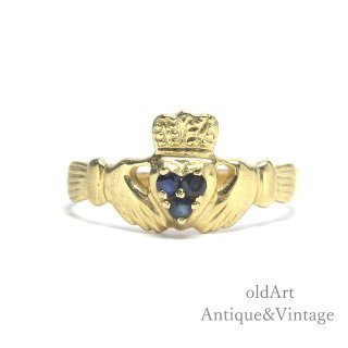USA製ヴィンテージアイルランド伝統的な指輪Claddagh Ringクラダリング10金無垢10Kゴールド18号【M-14947】