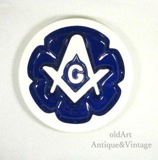 USAアメリカンヴィンテージ1970年代フリーメイソンロッジ陶器製灰皿アシュトレイ【N-20225】