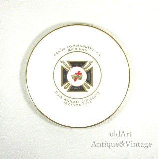 USAアメリカンヴィンテージ1974年フリーメイソンテンプル騎士団陶器製プレート/トレイ皿【N-20230】