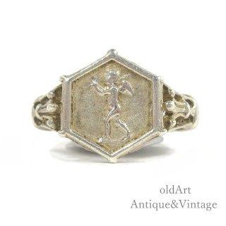 USAアメリカンヴィンテージ天使エンジェル彫刻ヘキサゴンシルバー製リング指輪【13.5号】【N-20270】