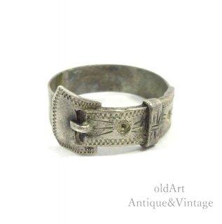 ヴィンテージバックルリング手彫り彫刻スターリングシルバー製指輪【15号】【N-20281】
