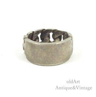 MEXICOメキシコ製1950-60年代ヴィンテージシルバー925製IDリング指輪【9.5号】【N-20290】