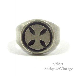 MEXICOメキシコ製ヴィンテージマルタクロス十字架スターリングシルバー製メンズリング指輪【21.5号】【N-20296】