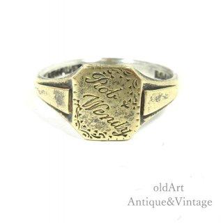 英国イギリス製1930年代アンティーク印台手彫りシグネットリングスターリングシルバー&9CTゴールド金張り指輪【14号】【N-20342】