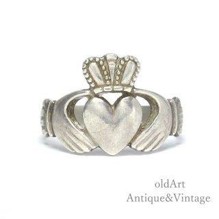 アイルランド製RIL工房伝統的な指輪Claddagh Ringクラダリングスターリングシルバー製メンズホールマーク刻印【19号】【M-15012】