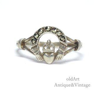 アイルランド製1994sTJH工房伝統的な指輪Claddagh Ringクラダリングマルカジットスターリングシルバー製ホールマーク刻印【14号】【M-15013】