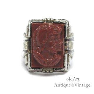 USA製1940年代ヴィンテージローマ神話マルス騎士カメオ彫刻STERLINGシルバー製メンズリング指輪【17号】【M-14997】