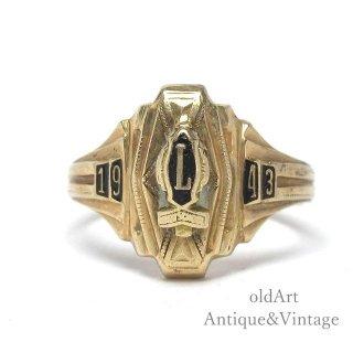 USA製1943年代ヴィンテージBALFOURバルフォア社製L H.S.10金無垢ヘリテイジカレッジリング指輪10Kゴールド【11.5号】【M-15001】