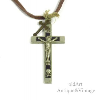 USA製アンティークイエスキリスト十字架クロス髑髏スカルロザリオペンダントペンダント/ネックレス【N-20411】