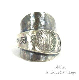USA製1960年代BELL TRADING POSTベルトレーディング社KANSAS州旗スターリングシルバー銀製スプーンリング指輪【20.5号】【N-20429】