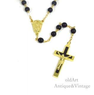 イタリア製ヴィンテージ聖母マリアキリスト十字架クロスメダイロザリオビーズネックレス【N-20438】