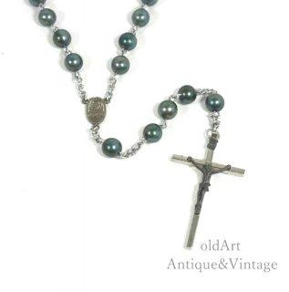イタリア製ヴィンテージ聖母マリアキリスト十字架クロスメダイロザリオビーズネックレス【N-20442】