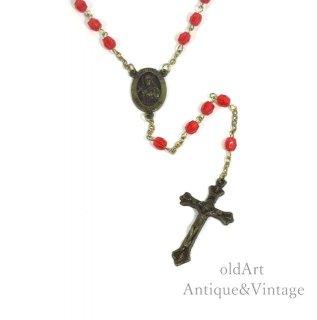 USAアメリカヴィンテージ聖母マリアキリスト薔薇十字架クロスメダイロザリオビーズネックレス【N-20447】