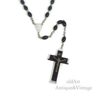 イタリア製ヴィンテージ聖母マリアキリスト十字架クロスメダイロザリオ木製ビーズネックレス【N-20448】