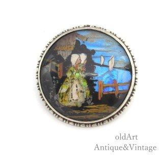 英国イギリス製アンティーク1924年代二人の女性モルフォ蝶バタフライウィング純銀ピンブローチ【M-15029】
