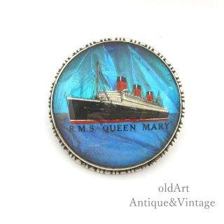 英国イギリス製アンティーク1920年代アールデコRMS Queen Mary豪華客船モルフォ蝶バタフライウィング銀製ピンブローチ【M-15030】