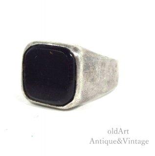 USA製1973年ヴィンテージオニキス印台スターリングシルバー製メンズリング指輪【14号】【N-20467】
