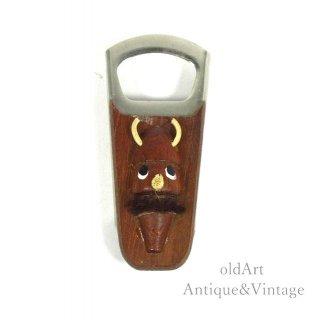 北欧デンマーク製1960-70年代ヴィンテージ木製チークヴァイキング人形栓抜きオブジェ置物【N-20472】