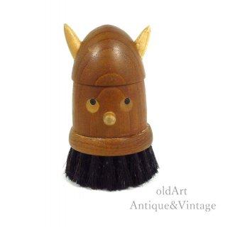 北欧デンマーク製1960-70年代ヴィンテージ木製チークウッドドールヴァイキング人形ブラシオブジェ置物【N-20474】