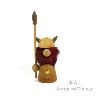 北欧デンマーク製1960-70年代ヴィンテージ木製チークウッドドールヴァイキング人形オブジェ置物【N-20477】