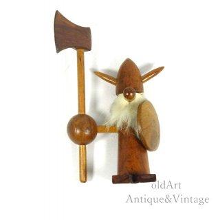 北欧デンマーク製1960-70年代ヴィンテージ木製チークウッドドールヴァイキング人形オブジェ置物【N-20481】