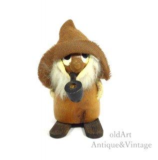 北欧デンマーク製1960-70年代ヴィンテージ木製チークウッドドール人形オブジェ置物【N-20484】