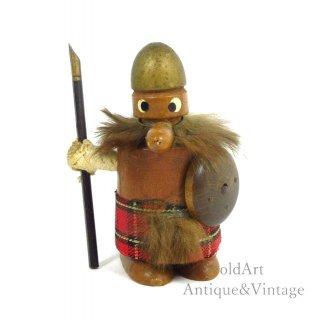 北欧デンマーク製1960-70年代ヴィンテージ木製チークウッドドールヴァイキング人形オブジェ置物【N-20486】