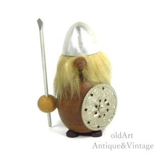 北欧デンマーク製1960-70年代ヴィンテージ木製チークウッドドールヴァイキング人形オブジェ置物【N-20488】