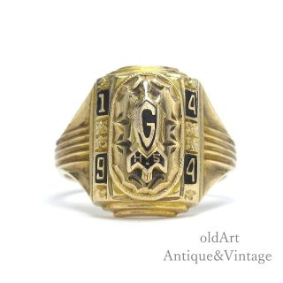 USA製1944年ヴィンテージG H.S.ヘリテイジカレッジリング指輪ピンキー【10金無垢/10Kゴールド】【9号】【M-15052】