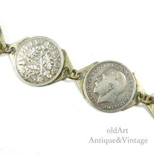 英国イギリス製1931年アンティークThreePenceジョージ5世コイン硬貨シルバーブレスレット【N-20550】