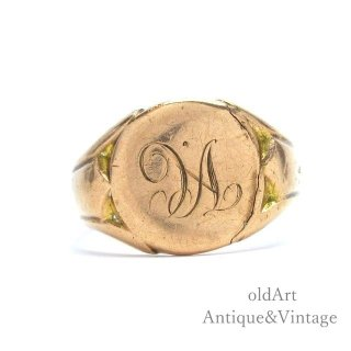 英国イギリス1918年製造アンティークシグネットリングメンズ9金無垢9CTローズゴールド指輪ホールマーク刻印【20.5号】【M-15068】