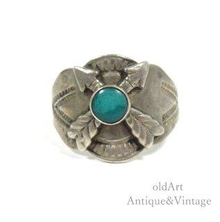 USA製1950年代ヴィンテージネイティブアメリカンインディアンターコイズシルバー製リング指輪【17号】【N-20580】