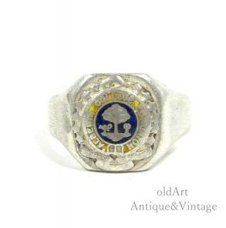 カナダ製ヴィンテージスターリングシルバー製カレッジリング指輪【21.5号】【N-20590】