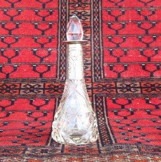 英国イギリス1921年製バーミンガムアンティークガラス香水瓶オブジェ【N-20616】