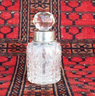英国イギリス1911年製バーミンガムアンティークガラス香水瓶オブジェ【N-20618】