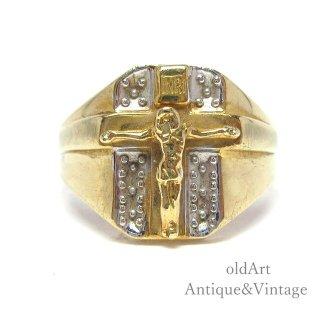USA製ヴィンテージイエスキリスト十字架クロスINRI10金無垢K10ゴールドメンズリング指輪【21号】【M-15091】