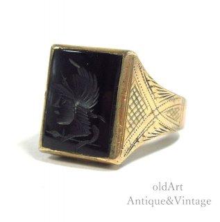 USA製1930年代アンティークローマ神話マルス騎士オニキス彫刻スターリングシルバー×金張りインタリメンズリング指輪【19.5号】【N-20707】