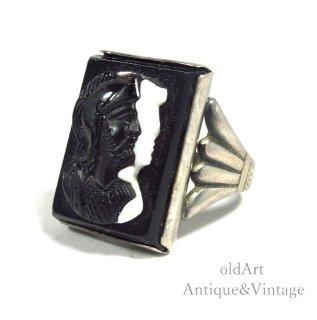 USA製アンティーク1930年代ローマ神話マルス騎士カメオ彫刻オニキスSTERLINGシルバー製メンズリング指輪【14号】【N-20708】