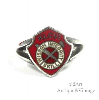 USA製ヴィンテージKLCVIスターリングシルバー製エナメルカレッジリング指輪【14.5号】【N-20734】