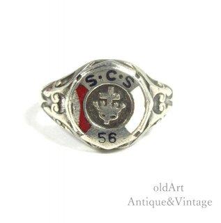 USA製1956年ヴィンテージ十字架クロス王冠スターリングシルバー製エナメルカレッジリング指輪【14.5号】【N-20726】