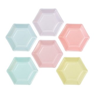 Talking Tables ペーパープレート  Pastel Hexagonal  12枚入