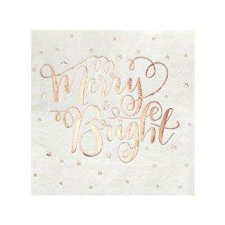 Merry&Bright ペーパーナプキン (20枚入) ローズゴールド - Ginger Ray
