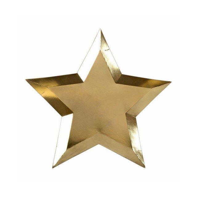 Star ペーパープレート (8枚入) Gold Foil - Meri Meri