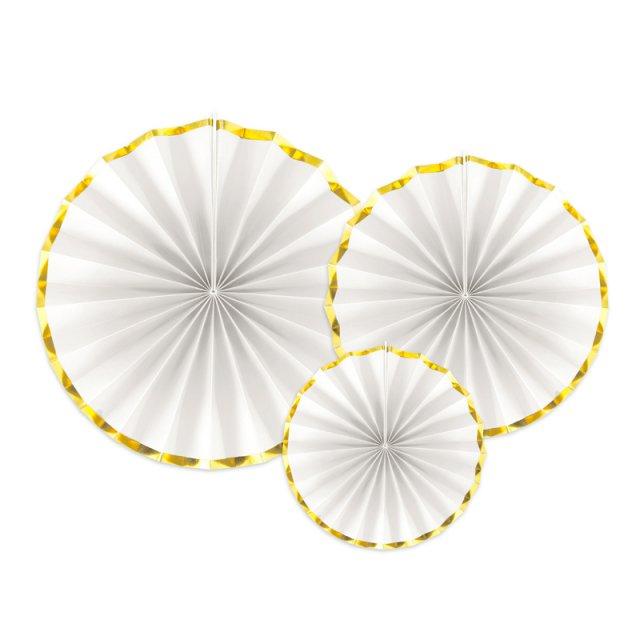 ペーパーファンセット White with Gold Edges
