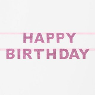 <img class='new_mark_img1' src='//img.shop-pro.jp/img/new/icons14.gif' style='border:none;display:inline;margin:0px;padding:0px;width:auto;' />グリッター HAPPY BIRTHDAY バナー ピンク My Little Day