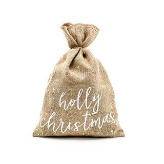 バーラップ ギフトバック Holly Christmas